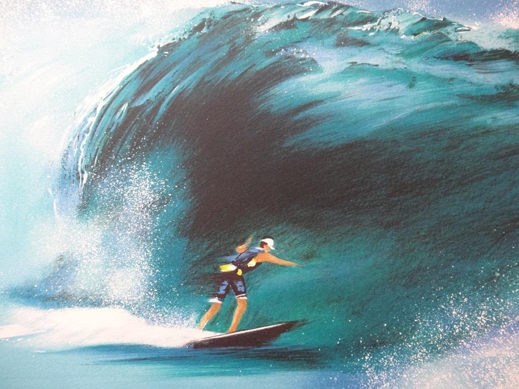 Details zu victor spahn surfeur dans la vague lithographie signee