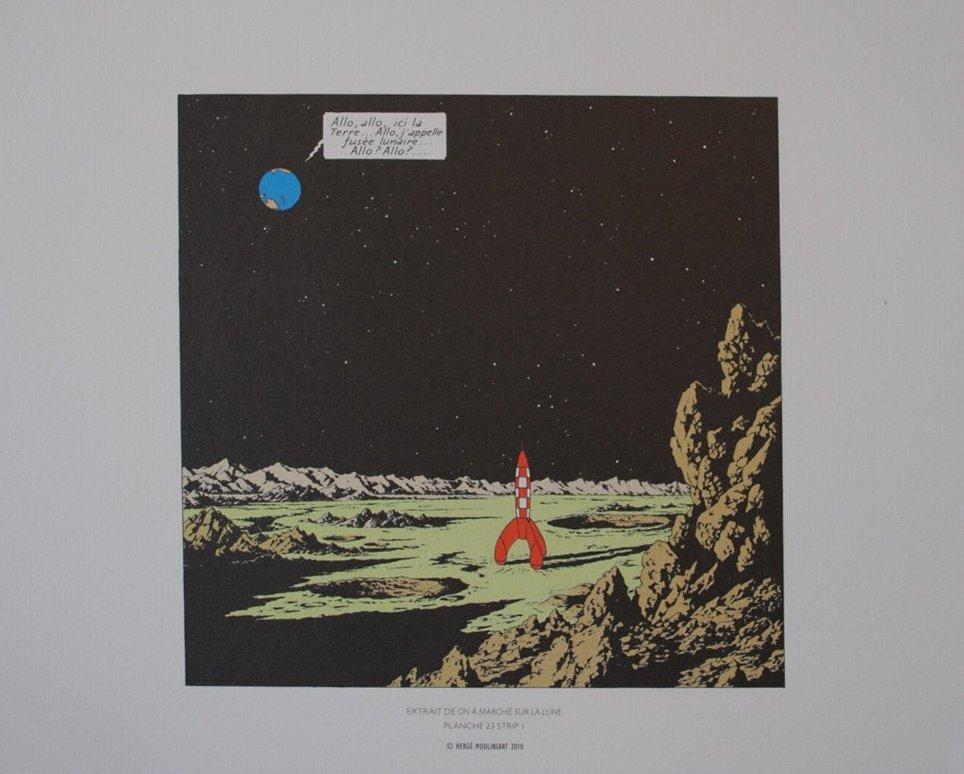herge d 39 apr s tintin on a march sur la lune 3 lithographies en couleur ebay. Black Bedroom Furniture Sets. Home Design Ideas